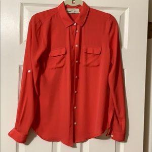 LOFT utility blouse. Hot coral!! Size XS.